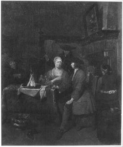 herberginterieur met en man en een vrouw aan tafel