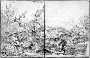 Figuur op een houten brug bij een vervallen boerderij