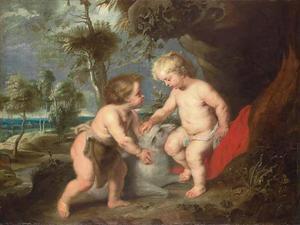 Christus en Johannes de Doper  als kinderen in een arcadisch boslandschap