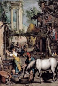 De maaltijd te Emmaüs, in een landschap