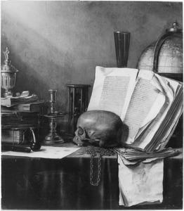 Vanitastilleven met schedel, boeken en globe