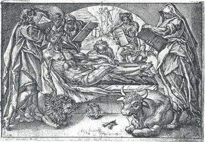 Christus in het graf, omringd door de vier evangelisten; in de achtergrond de herrijzenis