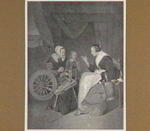Interieur met vrouwen bij een spinnenwiel