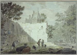 Landschap met ruïne, koeien en figuren