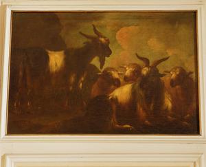 Staande en liggende bok en drie schapen