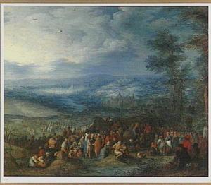 Weids landschap met Christus zieken genezend temidden van een menigte