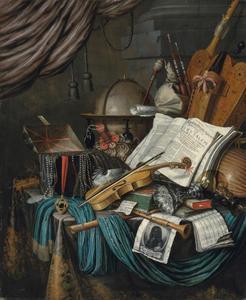 Vanitasstilleven met globe, muziekinstrumenten, sieradenkistje, boeken en een portretprent van de kunstenaar