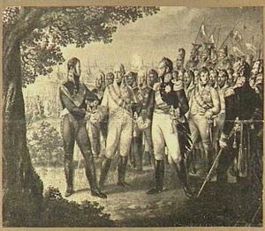 De eerste samenkomst van drie geallieerden te Praag, 1813