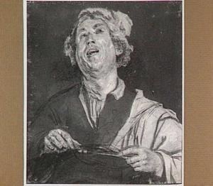 Lachende of zingende jongeman