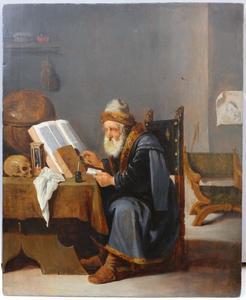 Oude geleerde in zijn studeervertrek