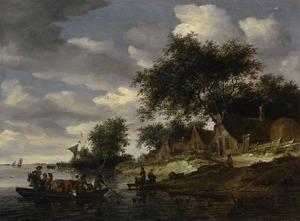 Rivierlandschap met vee en figuren in een veerboot, boerderijen op de waterkant