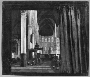 Interieur van de Oude kerk in Amsterdam onthuld door een trompe-l'oeil geschilderd gordijn