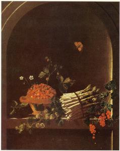 Stilleven met asperges, kruisbessen, kom met aardbeien en andere vruchten in een nis