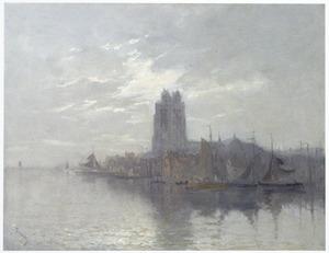 Gezicht op Dordrecht met de Grote Kerk