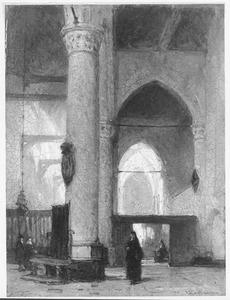 Interieur van de in 1857 afgebroken kerk van Arnemuiden