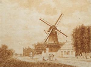 Windmolen op de Hoogendijk bij de Oostpoort, Rotterdam