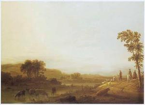 Landschap met reizigers, herders en vee