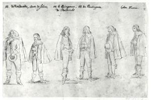 Groepsportret van Johan Wolfert van Brederode (1599-1655), Johann Albrecht II zu Solms-Braunfels (1599-1648), Frederik Magnus van Salm (1607-1673), een onbekende man en Thomas Ferentz (1594-1647)