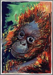 Artis, kleurschildering van aap