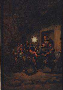 Nachtelijk tafereel met kinderen met een lantaarn: Driekoningen