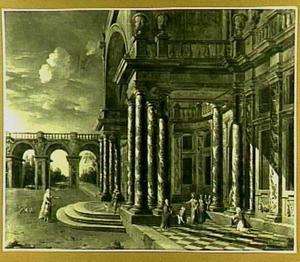 Barokpaleis met Christus en de bloedvloeiende vrouw