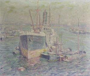 Stoomboot in de haven van Amsterdam