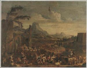 Zuidelijk landschap met dansende boeren en herders