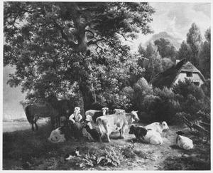 Landschap met twee boerinnen, rustend vee en paarden onder een grote boom