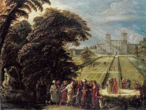 Mozes als kind aan het hof in Egypte temidden der filosofen (Exodus 2)