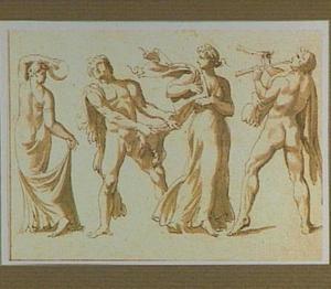 Vier dansende bacchanten