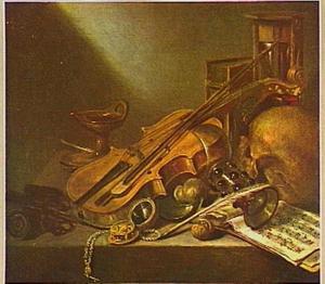 Vanitasstilleven met viool en schedel
