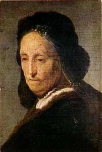 Studie van een oude vrouw met hoofddoek