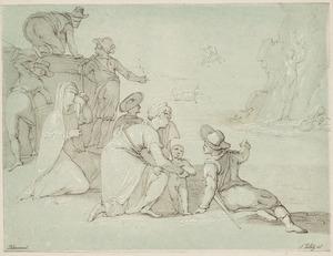 Kustgezicht met een groep mensen en Perseus die Andromeda redt in de achtergrond