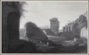 Capriccio van een italianiserend landschap met het Colosseum en mogelijk ruïnes van de Villa Hadriana in Tivoli