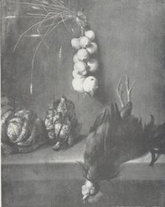 Stilleven met dode haan, uien en savooiekool