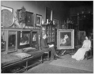 Portret van de schilder Simon Maris en zijn vrouw Cornelia 'Nootje' H.M. den Breejen in zijn atelier aan de Keizersgracht 498, Amsterdam