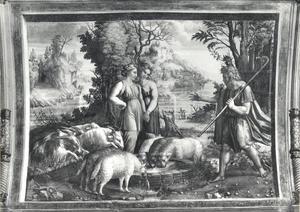 Jakob wentelt de steen van de bron, zodat Rachels kleinvee kan drenken (Genesis 29:9-10)