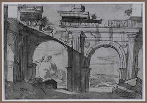 Klassieke ruïnes; in de achtergrond de tempel van de Sibylle in Tivoli