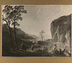 Bergachtig landschap met reizigers en herders bij een stroomversnelling