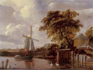 Landschap met windmolen en hooimijt aan het water