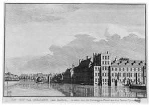 Den Haag, de Hofvijver met het Stadhouderlijk Kwartier aan het Binnenhof, gezien vanaf het Buitenhof