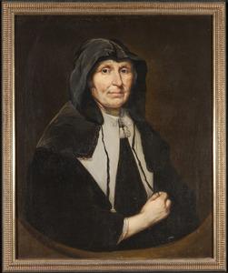 Portret van een onbekende vrouw met een zwarte kap