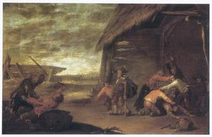 Vechtende boeren en bedelaars bij een schuur