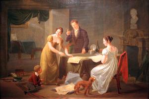Twee vrouwen, een man en een kind bij een tafel met prenten