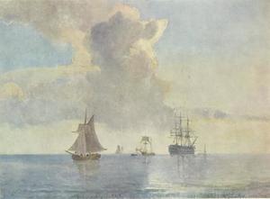 Schip voor anker liggend dat wordt omringd door kleine vaartuigen