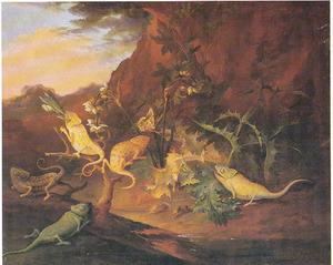 Berglandschap met kameleons