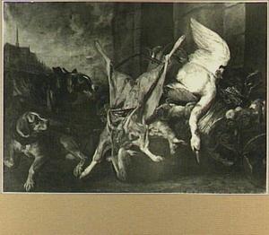 Uitstalling van zwaan, ree, haas, gevogelte en groente met links twee honden en een doorkijk een kerk
