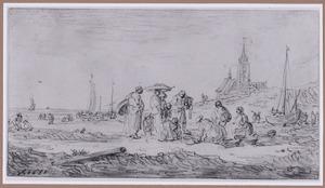 Visverkoopsters op het strand, rechts een kerk
