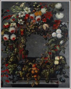 Bloemen en vruchten rond een cartouche met daarin een kruisspin