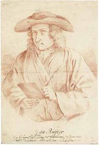 Zelfportret van de prentkunstenaar, boekhandelaar en uitgever Jan Ruyter (1688-1744)